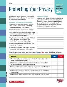 Protecting Your Privacy: U.S. Census Confidentiality Worksheet