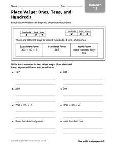 Place Value: Ones, Tens and Hundreds Worksheet