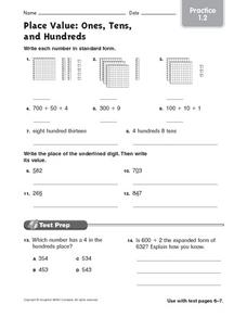 Place Value: Ones, Tens and Hundreds, Worksheet 2 Worksheet