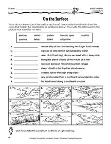 On the Surface: Landforms Worksheet for 3rd - 6th Grade | Lesson Planet