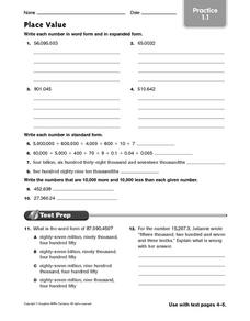 Place Value - Practice 1.1 Worksheet