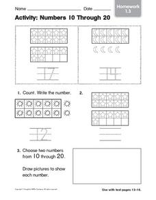 Activity: Numbers 10 Through 20 - Homework Worksheet