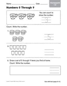 Numbers 0 Through 9: Homework Worksheet
