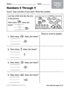 Numbers 0 Through 9: Problem Solving Worksheet