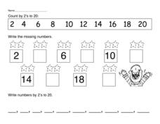 Count by 2's to 20 Worksheet