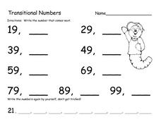 Transitional Numbers Worksheet