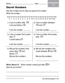 Secret Numbers Worksheet