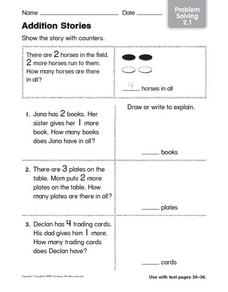 Addition Stories: Problem Solving Worksheet