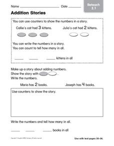 Addition Stories: Reteach Worksheet