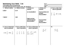Concepts and Conversions Worksheet