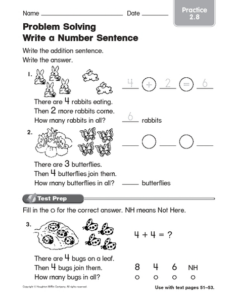 Number Sentence Worksheets Kindergarten
