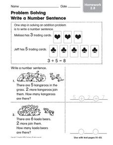 Problem Solving Write a Number Sentence: Homework Worksheet
