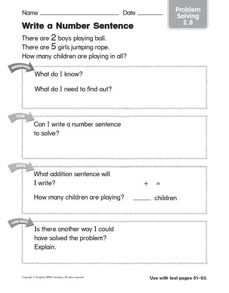 write a number sentence problem solving worksheet for 1st 2nd grade lesson planet. Black Bedroom Furniture Sets. Home Design Ideas