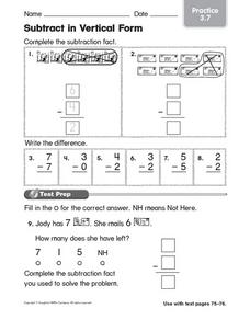 Subtract in Vertical Form Practice 3.7 Worksheet