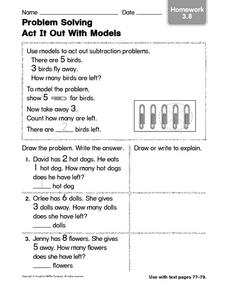 Problem Solving: Act It Out With Models 3.8 Worksheet