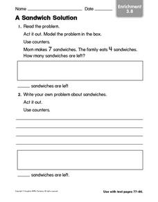 A Sandwich Solution: Subtraction Worksheet