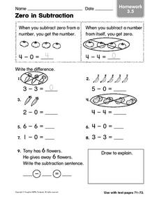 Zero in Subtraction Homework 3.5 Worksheet