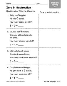 Zero in Subtraction Problem Solving 3.5 Worksheet