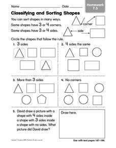 Classifying and Sorting Shapes 2 Worksheet