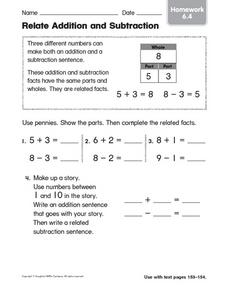Relate Addition and Subtraction: Homework Worksheet