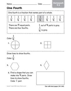 One Fourth: Homework Worksheet