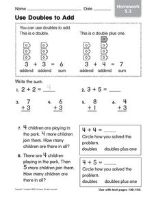 Use Doubles to Add Homework 5.3 Worksheet