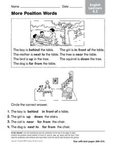 More Position Words English Learners 8.2 Worksheet