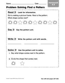 Problem Solving Find a Pattern: Homework Worksheet