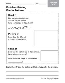 Problem Solving Find a Pattern: Reteach Worksheet