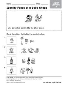 Identify Faces of a Solid Shape: English Learners Worksheet