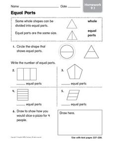 Equal Parts: Homework Worksheet