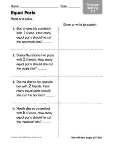 Equal Parts: Problem Solving Worksheet