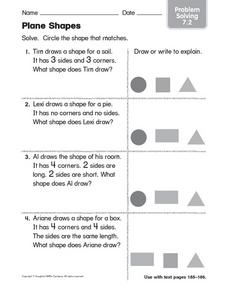 Plane Shapes: Problem Solving Worksheet