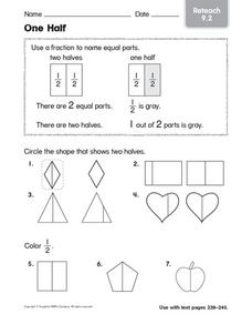 One Half: Reteach Worksheet