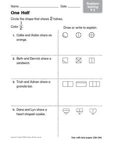 One Half: Problem Solving Worksheet