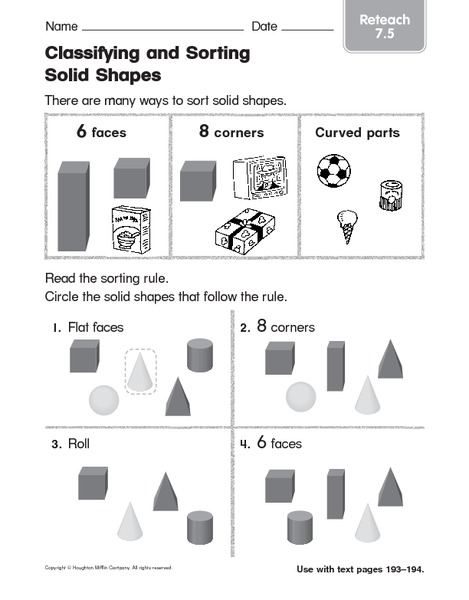 classifying and sorting solids shapes 3 worksheet for 1st 2nd grade lesson planet. Black Bedroom Furniture Sets. Home Design Ideas