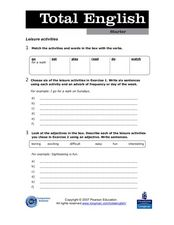 Total English - Leisure Activities Worksheet