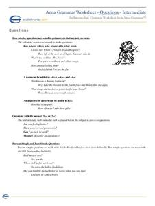 Questions...? Worksheet