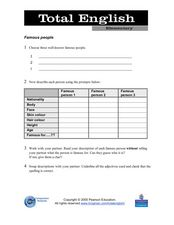 Total English Elementary: Famous People Worksheet