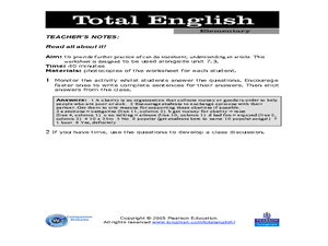 Total English Elementary: Read All About It Worksheet