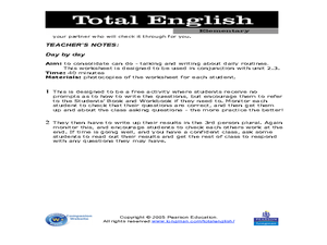 Total English Elementary: Day by Day Worksheet