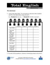 Total English Elementary: The Interviewer Worksheet