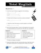 Total English Elementary: Why Don't We...? Worksheet