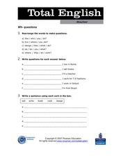 Total English Starter: Wh- Questions Worksheet