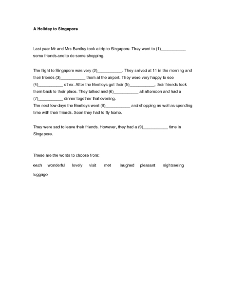 "Sentence Completion: ""A Holiday to Singapore"" Lesson Plan"