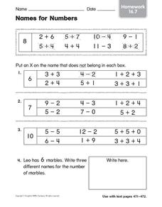 Names for Numbers 2 Worksheet
