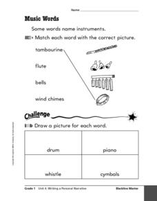 Music Words Worksheet