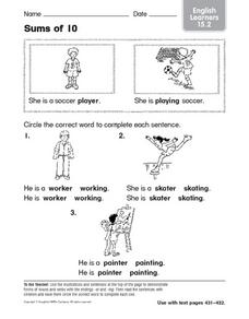 Sums of 10: Using -er and -ing Worksheet