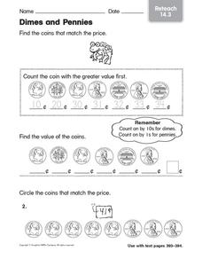 Dimes and Pennies 2 Worksheet