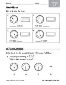 Half-Hour: Learning to Tell Time Worksheet